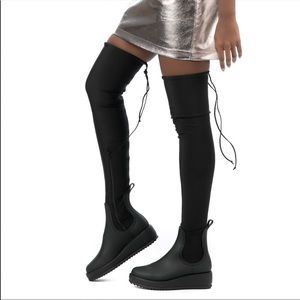 Jeffery Campbell Black Over The Knee Monsoon Boots